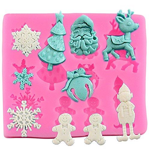Da.Wa Serie de Navidad Moldes Fondant de Silicona Herramientas para Hornear Torta de Dulces Molde de Arcilla Molde de Magdalena