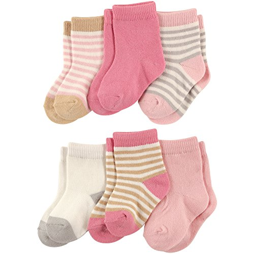 Touched by Nature Baby Organic Cotton Socks, Girl Stripes 6Pk, 6-12 Months