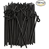 Disposable Flexible Plastic Drinking Straws, Black, 10 inches, Pack of 100