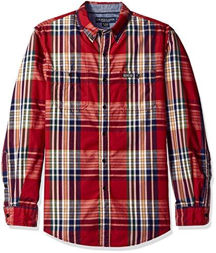U.S. Polo Assn. Mens Long Sleeve Classic Fit Button Down Plaid Sport Shirt