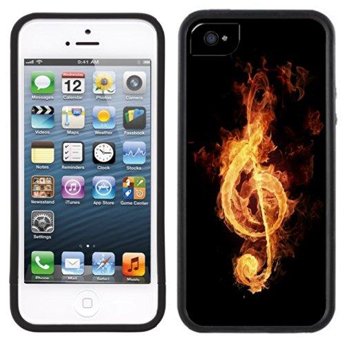 Musique Note flamme | Fait à la main | iPhone 5c | Etui Housse noir