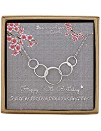 50th Birthday Gifts for Women - Sterling Silver Infinity 5 Circle 5 Decades Necklace, Mothers Day Jewelry