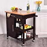 New Rolling Wood Kitchen Island Trolley Cart Bamboo Top Storage Cabinet Utility
