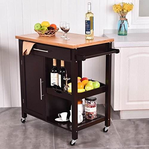 giantex rolling wood kitchen island trolley cart bamboo top storage cabinet utility. Black Bedroom Furniture Sets. Home Design Ideas