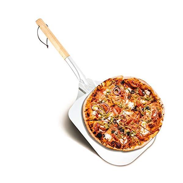 EKKONG Pala per Pizza in Alluminio, Pala per Pizza, Pala in Alluminio per Pizza con Manico Lungo in Legno Rimovibile…
