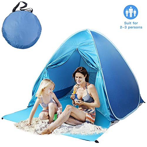 Felicigeely Beach Tent,UPF 50 Portable Pop up Sun Shelter with Carry Bag,Automatic Beach Sun Shade Canopy Cabana Beach Tents Fit 2-3 Person