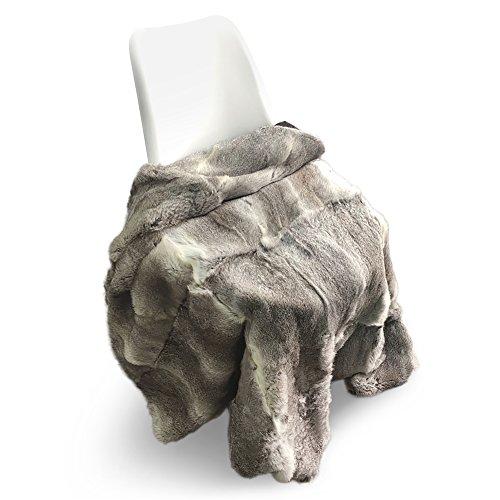 ETHEL ANDERSON Rabbit Fur Full Pelt Real Fur Rug Sofa Blanket Cover Carpet Throw Blanket (63x55in)