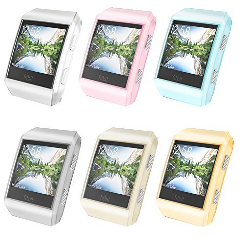 Moko Fitbit Ionic Case, [6-PACK] Slim Flexible Soft TPU Transparent Protective Frame Cover Shock Resistant Protector Shell For Fitbit Ionic Smart Watch - Crystal Multi (White Shield Protector Case)