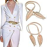 Imixshopcs Golden Women Waist Chain Leaf Shape Metal Stretch Elastic Ladies Metal Chain Belts (Gold)