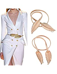 Imixshopcs Golden Women Waist Chain Leaf Shape Metal Stretch Elastic Ladies Metal Chain Belts (Gold)