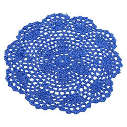 TraveT Handmade Round Crochet Cotton Lace Table Placemats Doilies Table Cup Mats Kitchen Accessories,Royal Blue