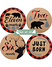 Baby Monthly Stickers, 24 Pieces Woodland Bear Lumberjack Baby Milestone Stickers Animals Newborn Baby Stickers First Year Growth Photo Picture Commemoration Props