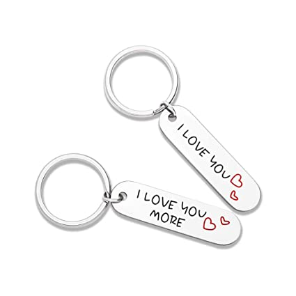 51d9955c15 Couples Keychains Set Gifts for Boyfriend Girlfriend 2pcs I Love You More  Best Wedding Anniversary Christmas