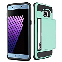 Galaxy S6 Case,JOBSS [Card Pocket] Heavy Duty Armor Wallet Case Snap-on Soft Rubber Bumper Protective Hard Shell Card Holder Slide Slot Cover For Samsung Galaxy S6 S VI G9200 GS6 All Carriers[Cyan]