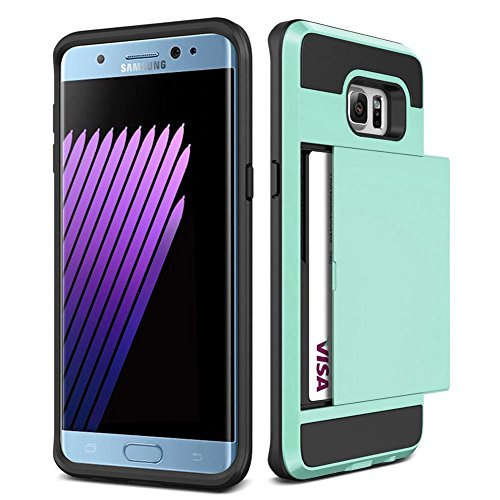 Galaxy S6 Edge + Plus Case,JOBSS [Card Pocket] Shockproof Dual Protective Shell Rubber Bumper with Card Holder Slot Wallet Case Cover Shell For Samsung Galaxy S6 Edge Plus G928 G9287[Mint green]