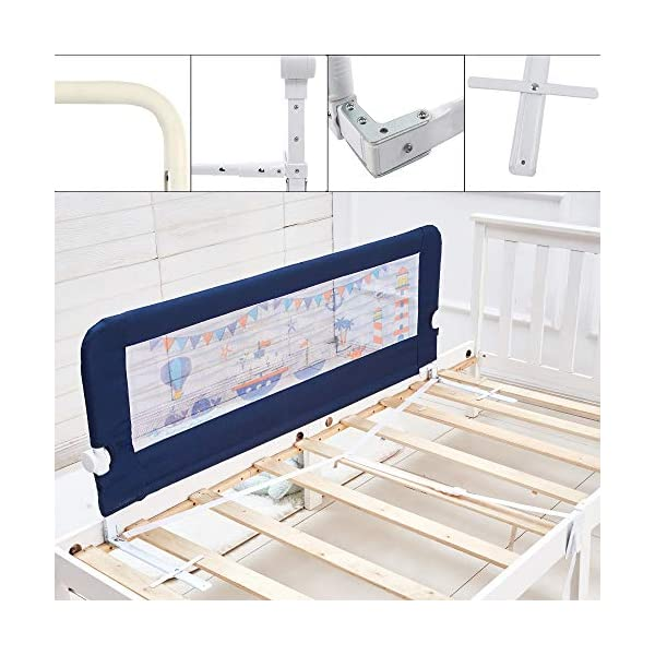59 Inches Toddler Bed Rail Fold Down Safety Baby Bed Guard with NBR Foam Including 1 Pc Safety Strap by KOOLDOO (Blue) 7
