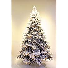 6ft Pre-lit Real Feel Flocked Alpine Spruce White Artificial Christmas tree (6ft)