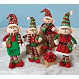 Set of 4 Christmas Elves Plush Figurines for Holiday Home Decor For Sale