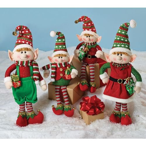 (Set of 4 Christmas Elves Plush Figurines for Holiday Home Decor)