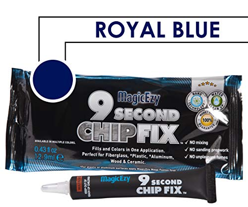 (MagicEzy 9 Second Chip Fix (Royal Blue) - One part Gelcoat Repair Kit Fixes & Colors Chips, Scrapes & Drill Holes Fast - Structural Grade Adhesion Guaranteed)