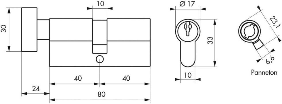 CYLINDRE /à bouton 40 x 40 mm 3 cl/és THIRARD