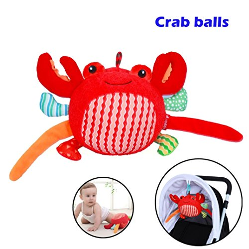 (Gbell Cute Soft Plush Crab Balls Handbells, Stroller Hanging Bell Rattles for Infant Baby Toddlers 3-36 Months,7.1inch (Red))