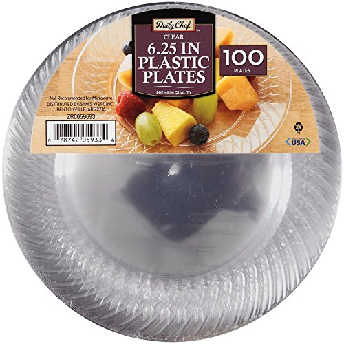 Daily Chef 6.25-Inch Plastic Plates, Clear, 100 Count ()