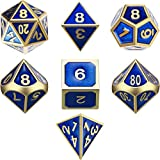 TecUnite 7 Die Metal Polyhedral Dice Set DND Role Playing Game Dice Set with Storage Bag...