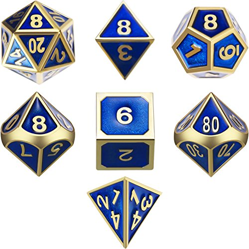 TecUnite 7 Die Metal Polyhedral Dice Set DND Shiny Gold and Blue Enamel Role Playing Game Dice Set with Storage Bag for RPG Dungeons and Dragons D&D Math Teaching