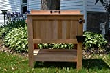 HUGE 70 QT Oversized Cedar Rustic Ice Chest Cooler Stand with Brass Drain, Bottle Opener, and Bottle Cap Catcher
