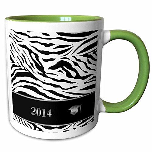3dRose Beverly Turner Graduation Design - 2014 Zebra Print with Graduation Cap, Black and White - 15oz Two-Tone Green Mug (mug_180905_12)
