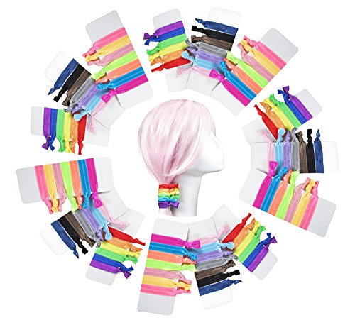 HipGirl 100pc Hair Ties-No Crease Elastic Ribbon Hair Bands Ponytail Holders, Ouchless Stretchy Styling Tool Bows Accessories,Assorted Hand Knotted Fold Over Tie for Girls,Babies,Kids,Teens Women