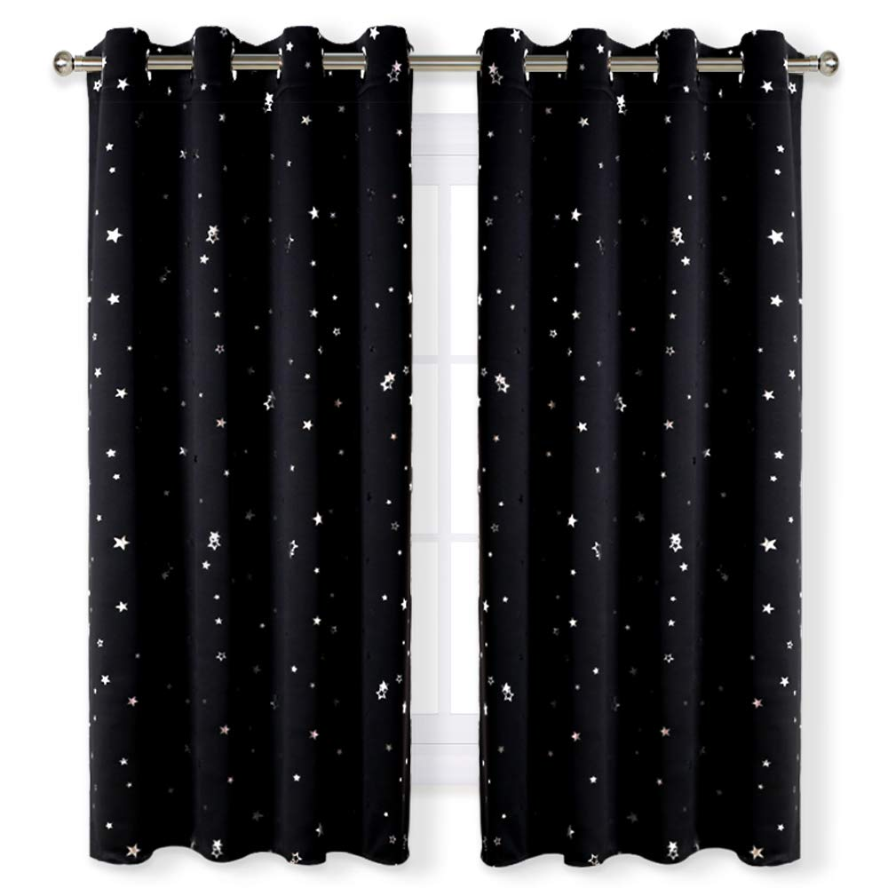 RYB HOME Blackout Curtains with Twinkle Star Pattern for Kids' Room Window Treatment Anti-Rust Silver Ring Top Insulated Drapes Noise Reduce for Baby Nursery, Double Pieces, W 52 x L 63, 2 Panels