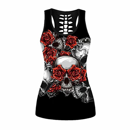 sissycos Women's Skull Printed Tank Tops Hollow Out Racerback Yoga Shirt Sleeveless Plus Size Cami ()