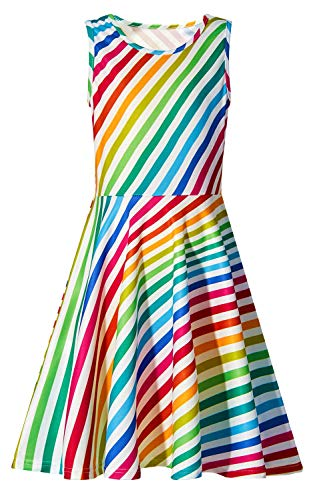 (Girls Yellow White Purple Blue Pink Green Colourful Diagonal Stripes Dress Casual Rainbow Crew Neck Slim Fit Twirl Dresses Fall School Beach Costume Gift for Kid Preschooler Daughter 6-7 Years)