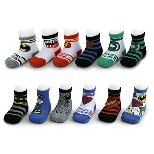 (DC Comics Assorted Superhero Characters 12 Pair Socks Set, Baby Boys, Age 0-24M (Justice League Design Set, 12-24)