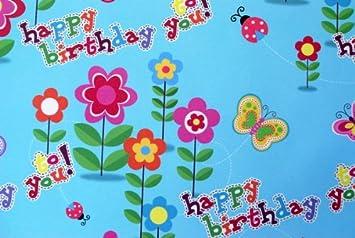 Amazon.com: Papel de regalo – feliz cumpleaños flores ...