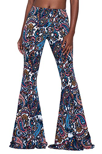 Pink Wind Ladies Cool Rayon Full Figured Ladies Stylish Palazzo Flared Bells Pant Blue -