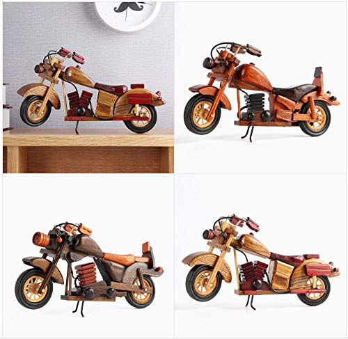 Mun Wood Motorcycle Bike Miniature Figurines 11.5 Inch Wooden Home Decor Ornaments
