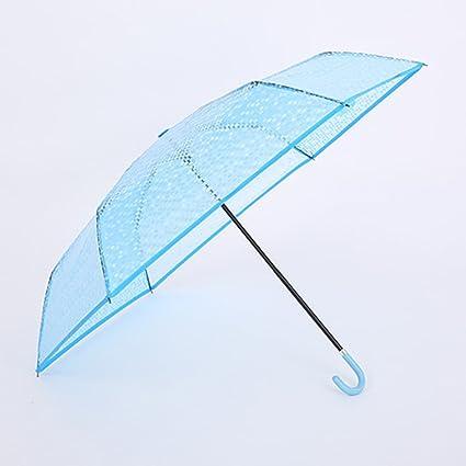 SX-ZZJ Paraguas Plegables Moda Creativa Plegable Paraguas Transparente Tres Paraguas Plegable Grueso Pequeño Fresco