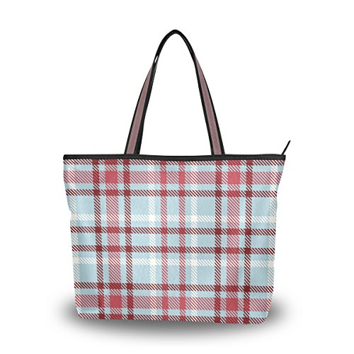 My Daily Women Tote Shoulder Bag Gingham Checkered Plaid Handbag Large - Gingham Plaid Tote