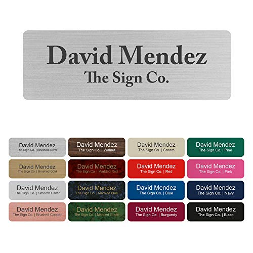 """Customized Name tag ID Badge - Trophy/Photo Frame Label with Magnetic or pin Backing. Personalized - 1"""" x 3"""" - Round Corners"""