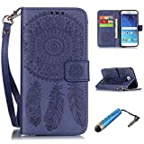 S6 Wallet Case Embossed, KooJoee® [Solid Color] Premium Leather [Wrist Strap] Dreamcatcher Flower Pattern Flip Protective Diary Case for Samsung Galaxy S6 (Navy)