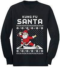 Kung Fu Santa Ugly Christmas Sweater Funny Youth Kids Long Sleeve T-Shirt