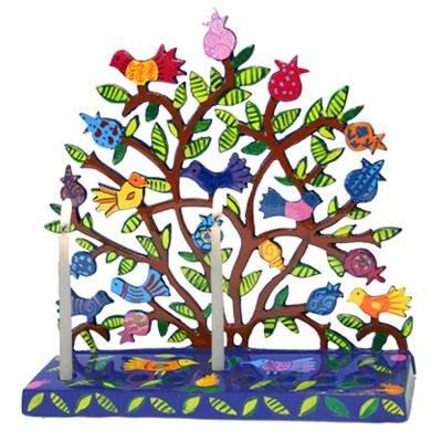 Chanukah Menorah Painted Metal Laser Cut Menorah - Birds in Pomegranate Tree Design for Hanukkah