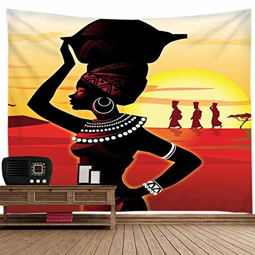 POPPAP Walk On Ground Sunshine Girl Wall Decor Art Tapestry, Light Weight Fabric Digital Print Photo Background Backdrop Wall Decor 70.86