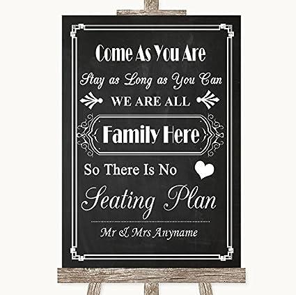 Cartel de boda estilo tiza con texto en inglés All Family No ...