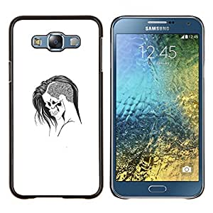Caucho caso de Shell duro de la cubierta de accesorios de protección BY RAYDREAMMM - Samsung Galaxy E7 E700 - Emo Goth Cráneo