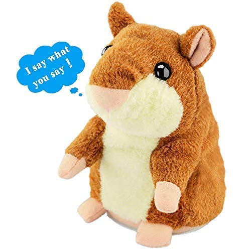 Ayeboovi Talking Hamster Repeats What You Say Mimicry Pet Toy Plush Buddy Mouse for Children Gift