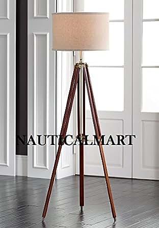 surveyor tripod floor lamp for living room cherry finish wood. Black Bedroom Furniture Sets. Home Design Ideas